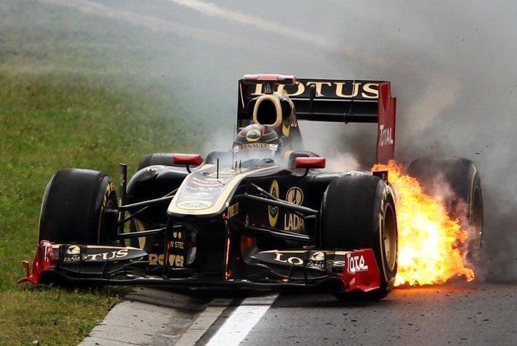 Forumla One 2011 Hungarian Grand Prix - Nick Heidfeld Escapes Burning Lotus 2